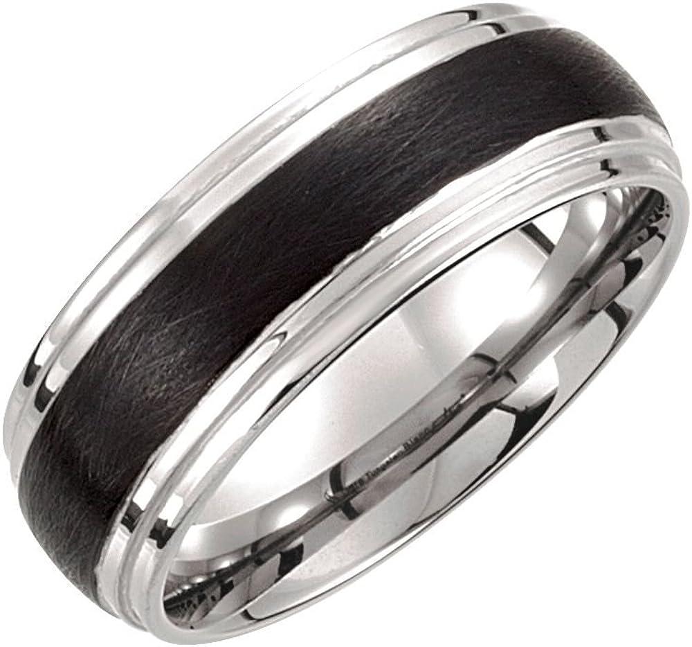 Tungsten 8.3mm Black /& White PVD Ridged Band Size 10 Ring Size 10