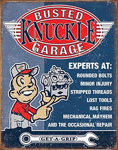 Desperate Enterprises Busted Knuckle Garage - Experts at Tin Sign, 12.5