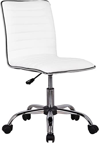 Edxtech Low Back Armless White Ribbed Leather Designer Swivel Task Computer Desk Chair