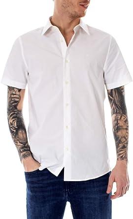 Calvin Klein Jeans Camisas de Manga Corta Hombre Small Blanco: Amazon.es: Ropa y accesorios