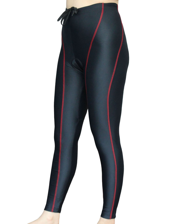 Wellcls Women's Cycling Long Pants 3D Padded Bike Bicycle Wear (Black/Red, XX-Large)