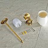 Leyden TM Antique Brushed Brass Carved Wall Mounted Toilet Brush Holder Bathroom Hardware