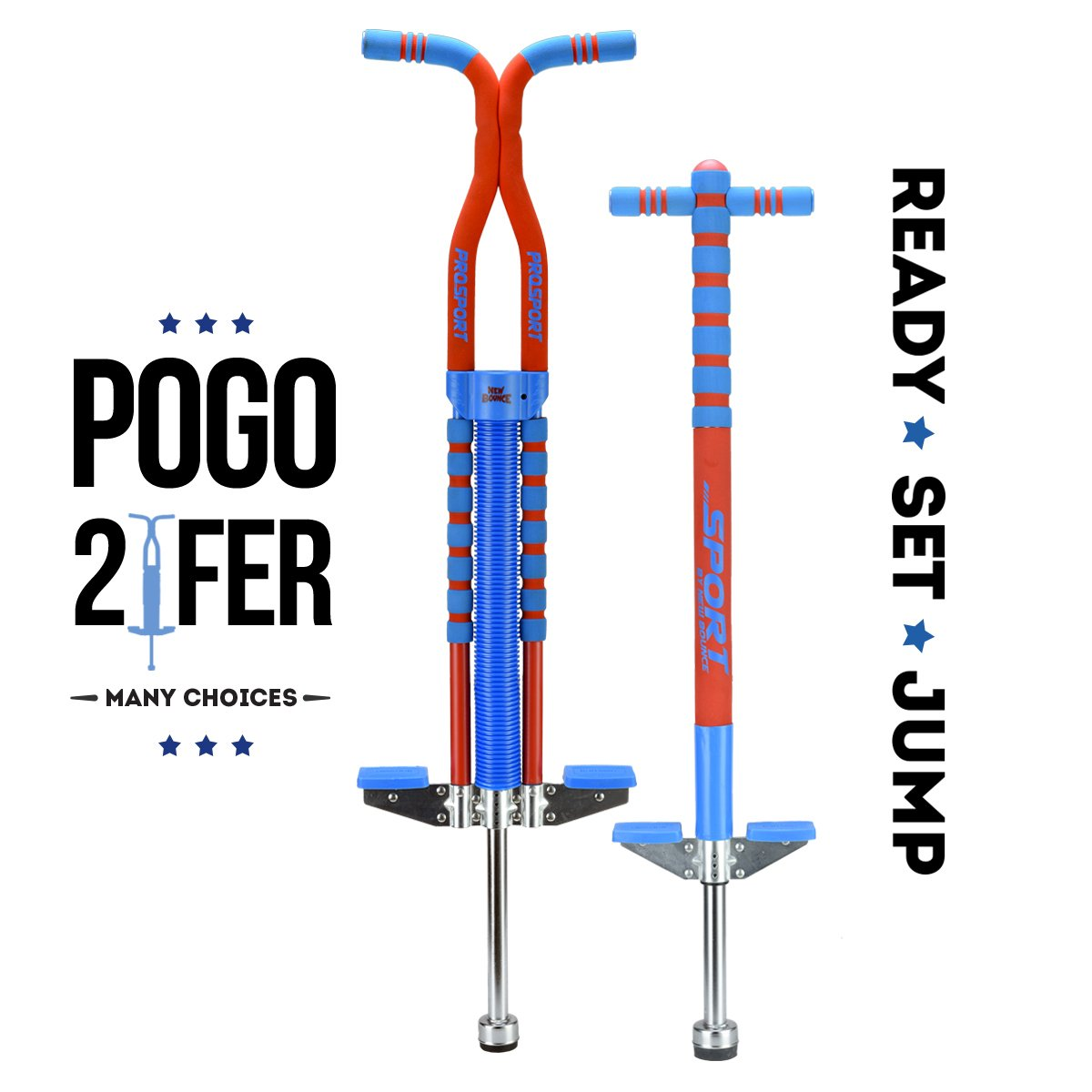 New Bounce 2 Pack Combo Set Soft, Easy Grip Sport Pogo Stick and Pro Sport Pogo by New Bounce