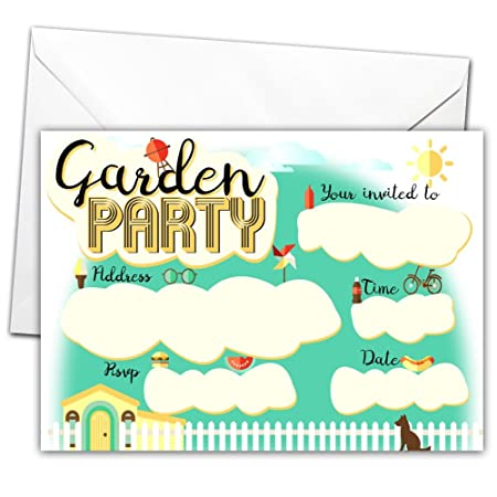 20 x glossy garden party invitations for any occasion with 20 x
