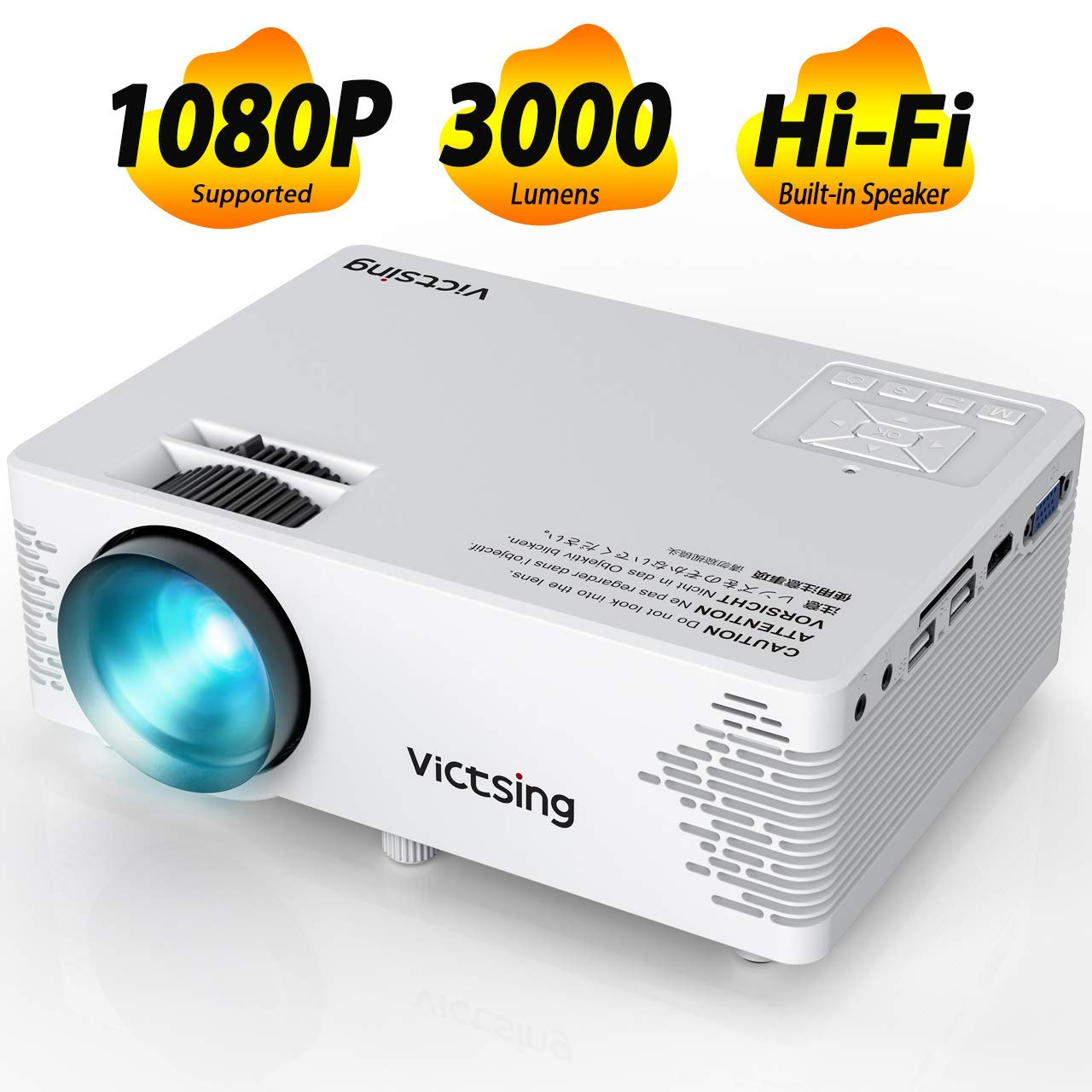 VicTsing Mini Projector, 2019 Upgraded Video Projector with Hifi Speaker, 3000 Lux; Full HD 1080P Supported Portable Projector with 170'' Display, Compatible with TV Stick, Laptop, HDMI/VGA/SD/AV