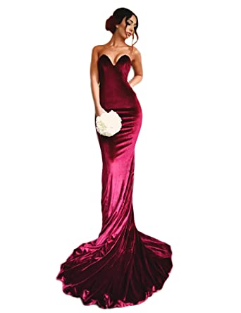 Elinadrs Sexy Strapless Mermaid Evening Formal Gowns Long Velvet Prom Dress Burgundy 02