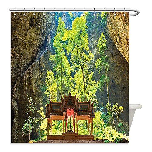 Liguo88 Custom Waterproof Bathroom Shower Curtain Polyester Natural Cave Decorations Latent Pavilion in Between the Cliffs Discovery of Faith in the Nature Art Picture Decor Multi Decorative bathro - Zelda Cave Dog Costume