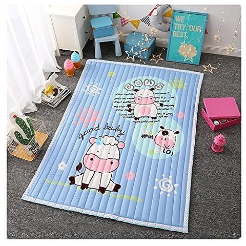 Kids Teepee Mat Children Antiskid Play Mat Baby Crawling Mat Non-slip thicken Carpet(55''X76'') (Cow) - Bene Carpet