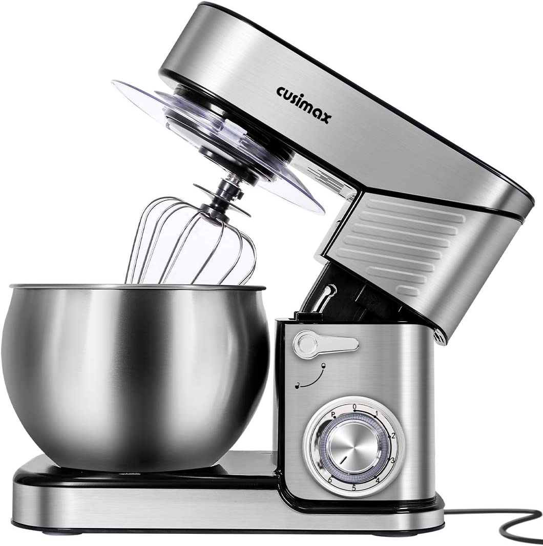 CUSIMAX Stainless Steel Stand Mixer 6.5-QT, kitchen Mixer 6-Speeds Tilt-Head Food Mixer with Dough Hook, Wire Whip & Flat Beater, Splash Guard for Home Cooks Electri Mixer, Silver