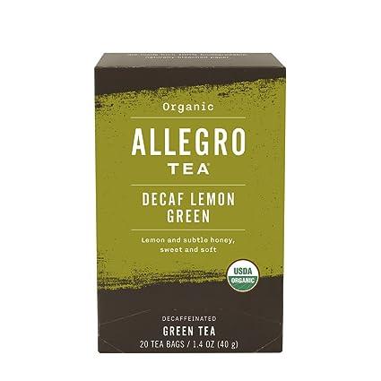 Allegro Tea, bolsas orgánicas de té verde limón descafeinado ...
