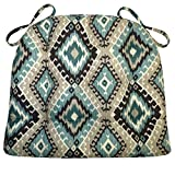Barnett Products Southwest Moonstruck Dining Chair Pad with Ties - Size Extra-Large - Latex Foam Fill - Reversible, Machine Washable