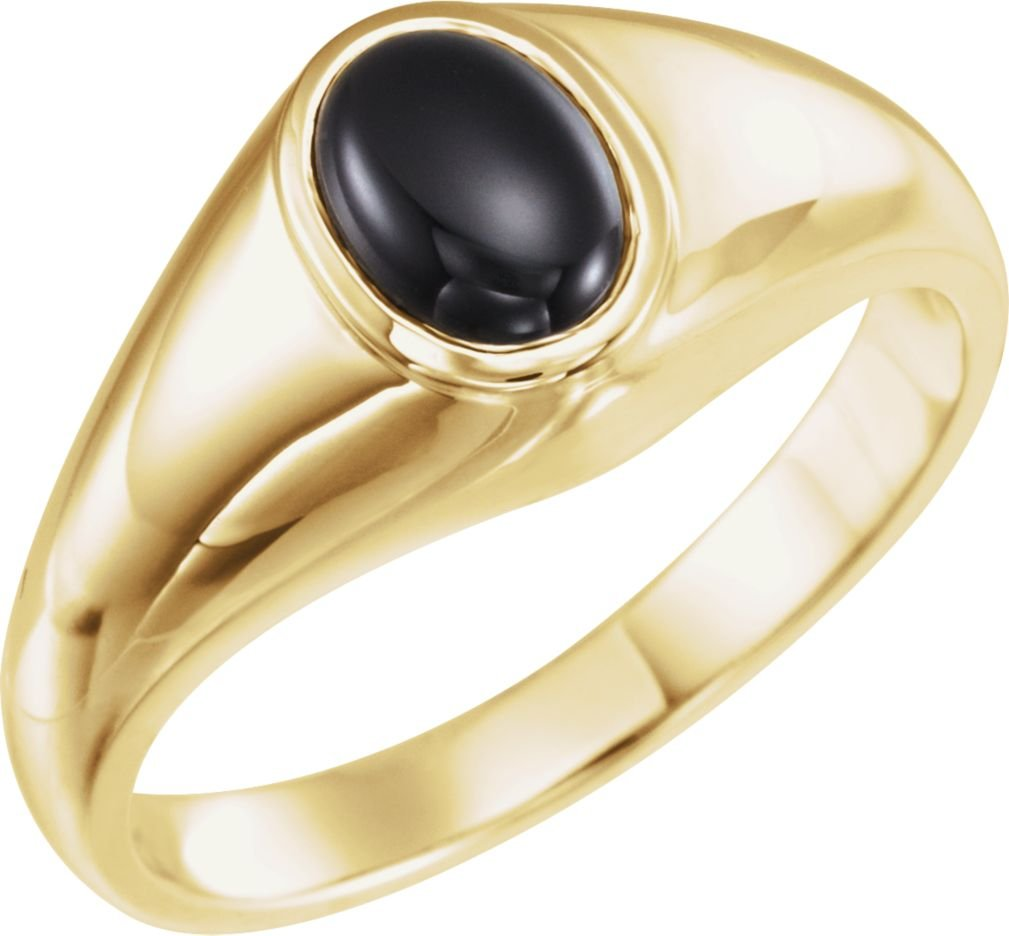 Men's Oval Onyx Cabochon Belcher Ring, 14k Yellow Gold, Size 9.5