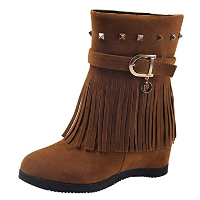 dd0378d24d3 Image Unavailable. Image not available for. Color  FORUU Platform Wedge  Heel Tassel Women Shoes ...