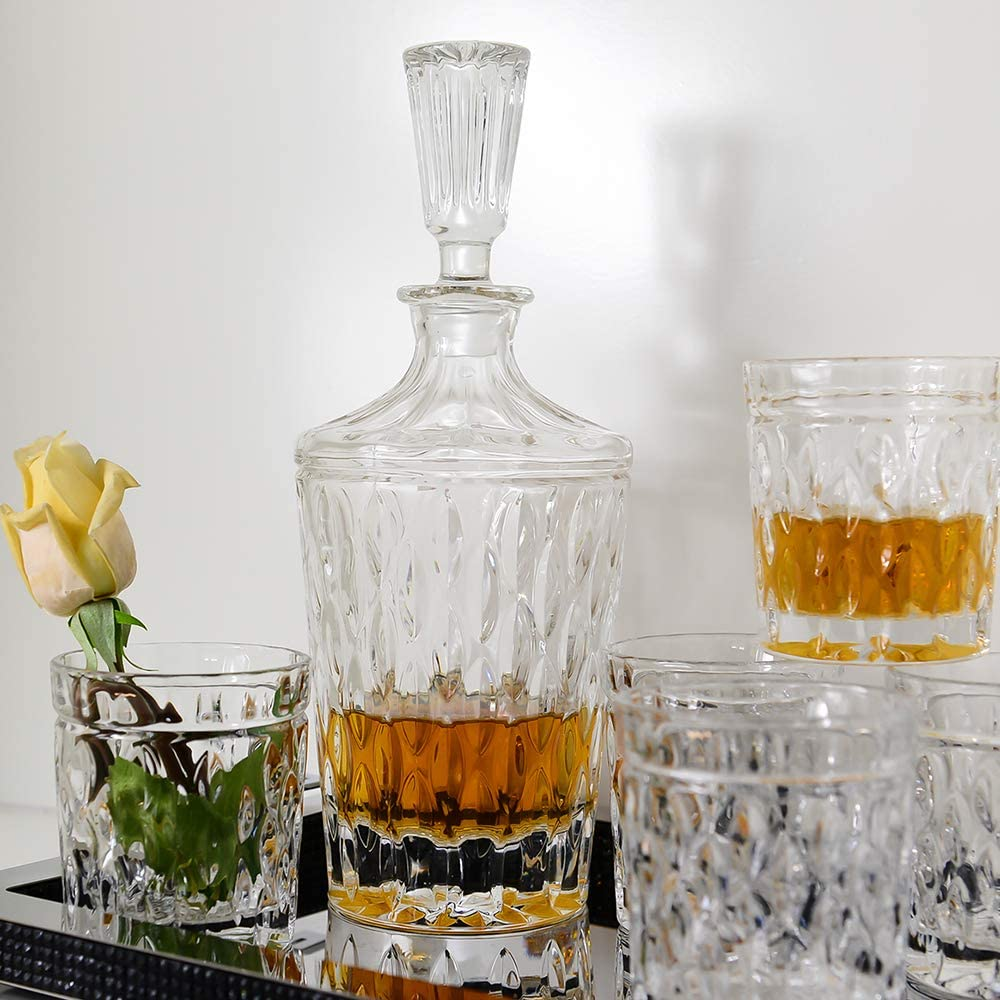 7 Verres à Whisky//CarafeFournie avec Chiffon de NettoyageVerres À Coktail