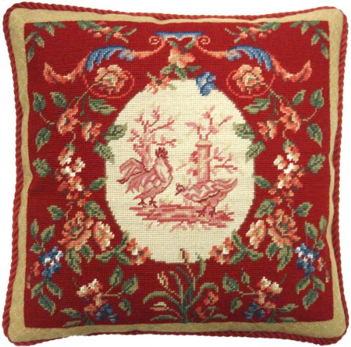 - Deluxe Pillows Red Rooster - 19 x 19 in. needlepoint pillow