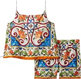 Dolce & Gabbana Kids Baby Girl's Dress No Sleeve+Pants (Toddler/Little Kids) Maiolica Print 5