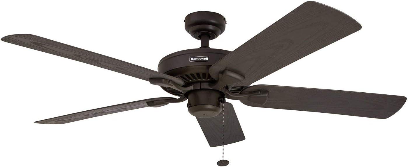 Honeywell Belmar 52-Inch Indoor Outdoor Ceiling Fan, Five Damp Rated Fan Blades, Bronze Renewed