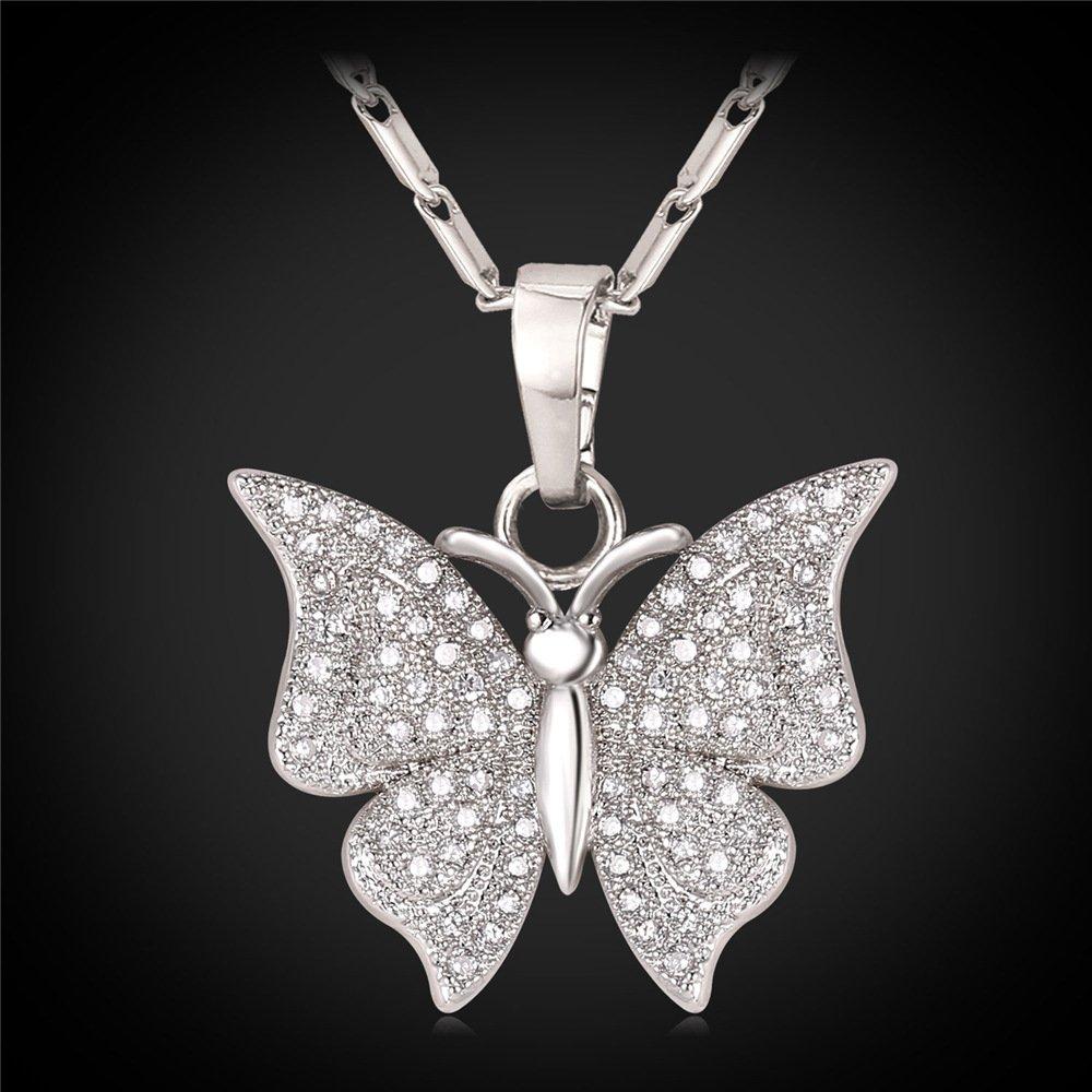 U7 Women Girls Gold Plated CZ Butterfly Pendant Charm Necklace Fashion Jewelry