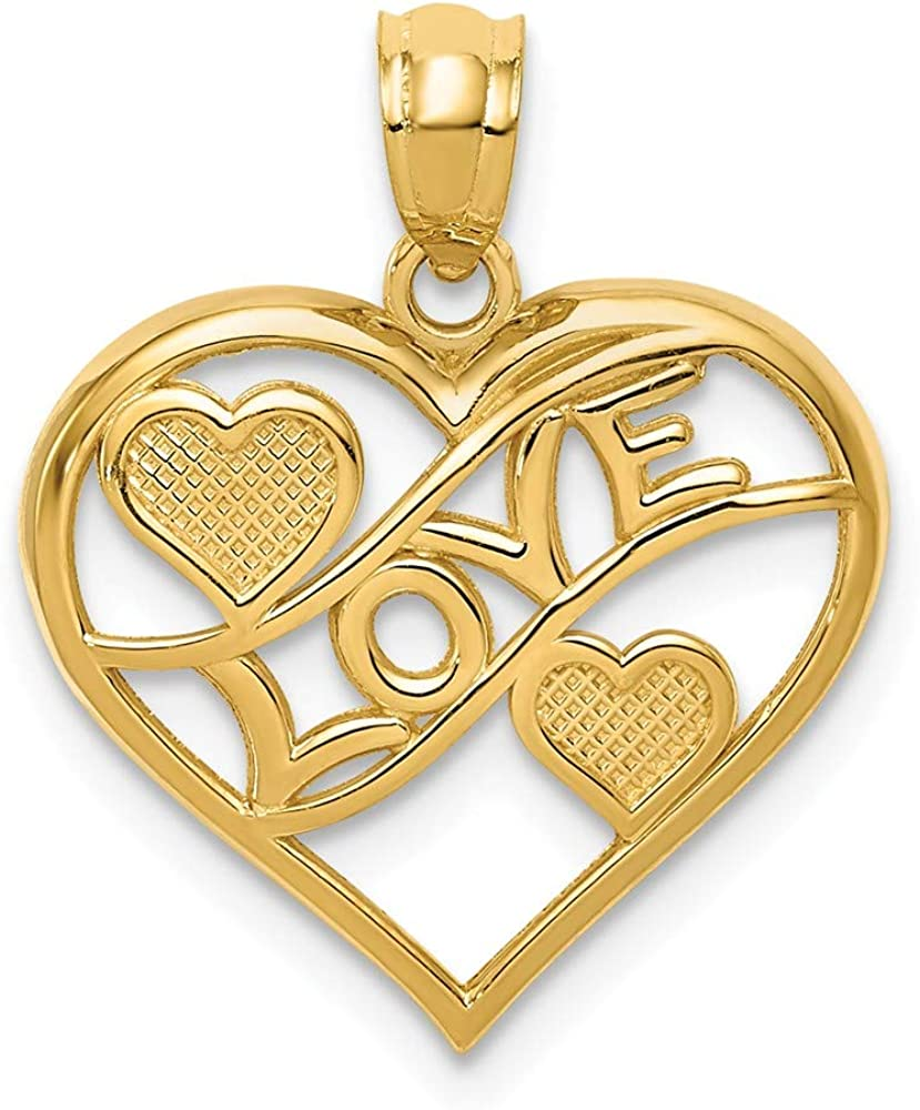 14k Polished Love /& Hearts In Heart Pendant Length 20.3 Width 16.6