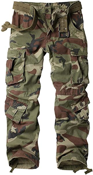 Combat Men/'s Cotton Cargo ARMY Pants Military Camouflage Camo Trousers