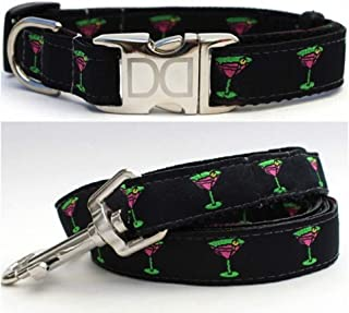"product image for Diva-Dog 'Yappy Hour' Custom Small Dog 5/8"" Wide Dog Collar with Plain or Engraved Buckle, Matching Leash Available - Teacup, XS/S"