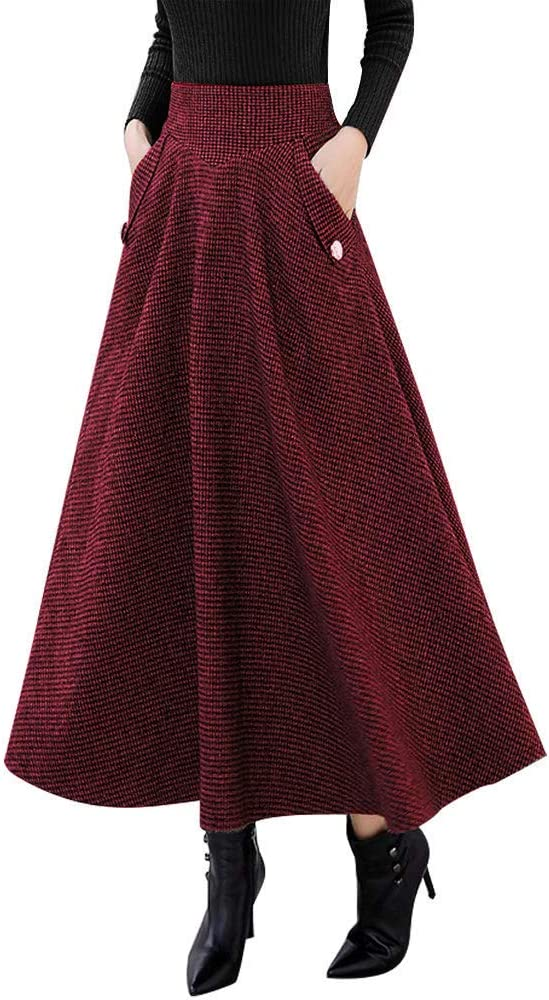 1930s Style Skirts : Midi Skirts, Tea Length, Pleated IDEALSANXUN Women's Fall/Winter High Waist Plaid Slim A-line Long Skirt $36.99 AT vintagedancer.com