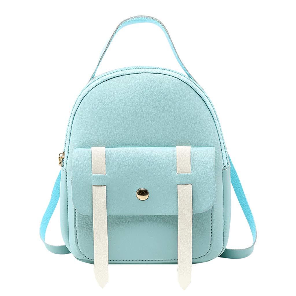 Copercn Women and Girls Faux Backpack School Bag Crossbody Bag Shoulder Bag Round Zipper Flip Fold Handbag