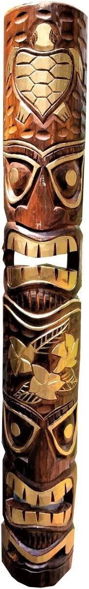 "All Seas Imports 39.5"" Handcarved Gold Foil Design Tiki Mask Hawaiian Style with Turtle & Flowers!"