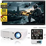 CAIWEI LED Video Projector HD 200 3600 Lumens Home Projector Support 1080P For Outdoor Indoor Movie Night, Home Cinema Theater for Cable TV, Blu-ray DVD Player, Laptops, iPhone, Smartphones, HD Games
