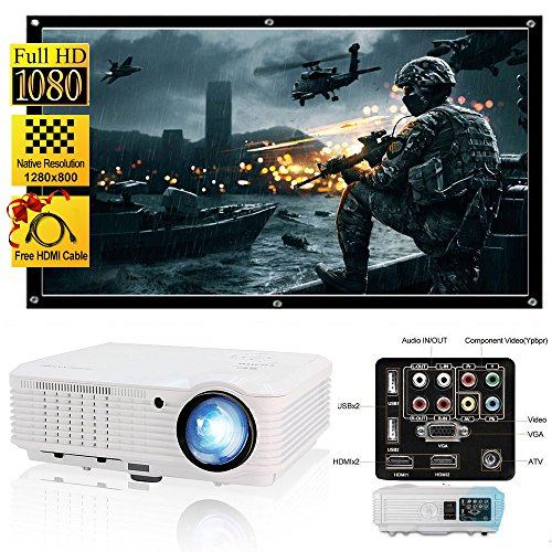 "CAIWEI LED Video Projector HD 200"" 3600 Lumens Home Projector Support 1080P For Outdoor Indoor Movie Night, Home Cinema Theater for Cable TV, Blu-ray DVD Player, Laptops, iPhone, Smartphones, HD Games"