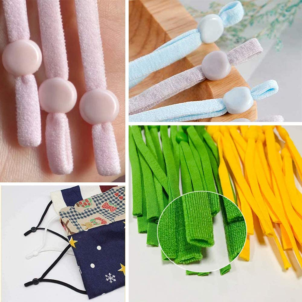 for Adult Children Face Cover Making DIY Crafts Supplies 10 Colors Elastic Cord Bands Stretchy Ear Band Straps Sewing Kalolary 100pcs High Stretch Elastic Bands with Adjustable Buckle