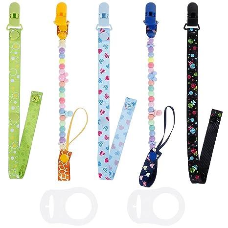 Lictin 5 Pcs Cadenas para chupetes chupetero bebé clips con adorable diseño - Unisex diseño para chicos y chicas con 2 botón de silicona anillo