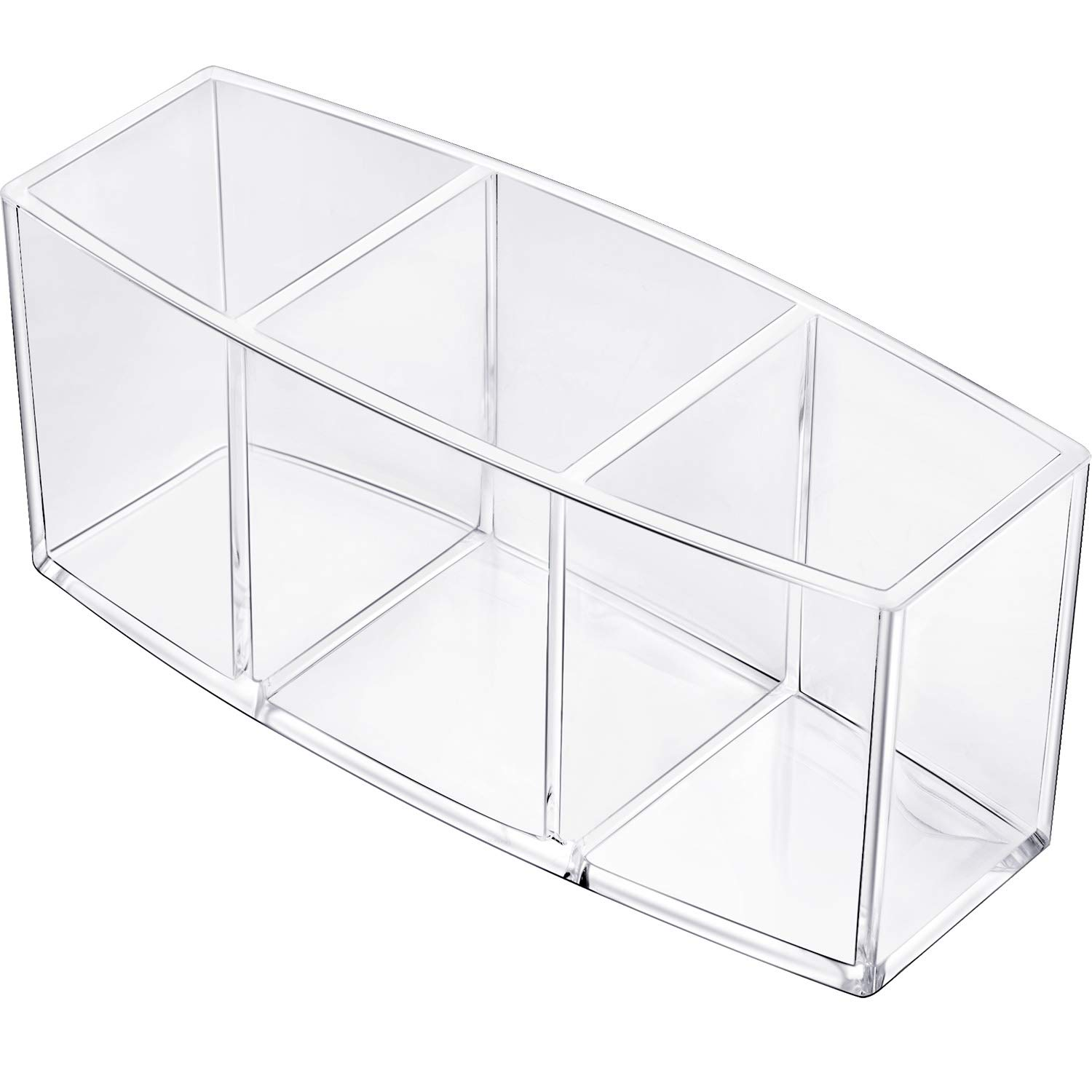 Gejoy Acrylic Pencil Pen Holder Large Makeup Organizer for Desktop Stationery Organizer Clear (3 Compartments)