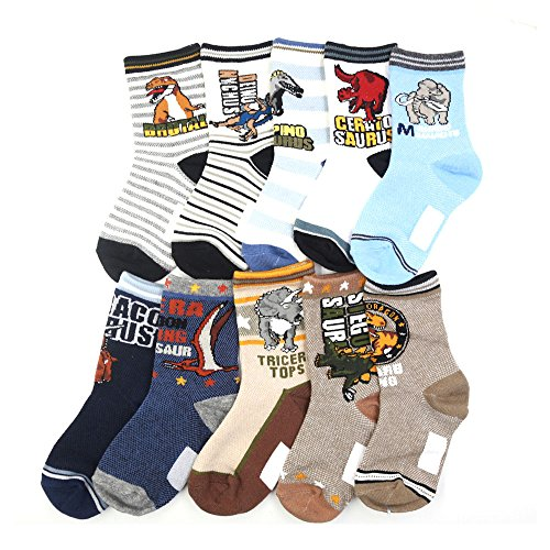 Boys Socks,10 of Pack Cute Cartoon Dinosaur Pattern Cotton Boys Crew Socks 4-12 years by Srinea (Image #1)