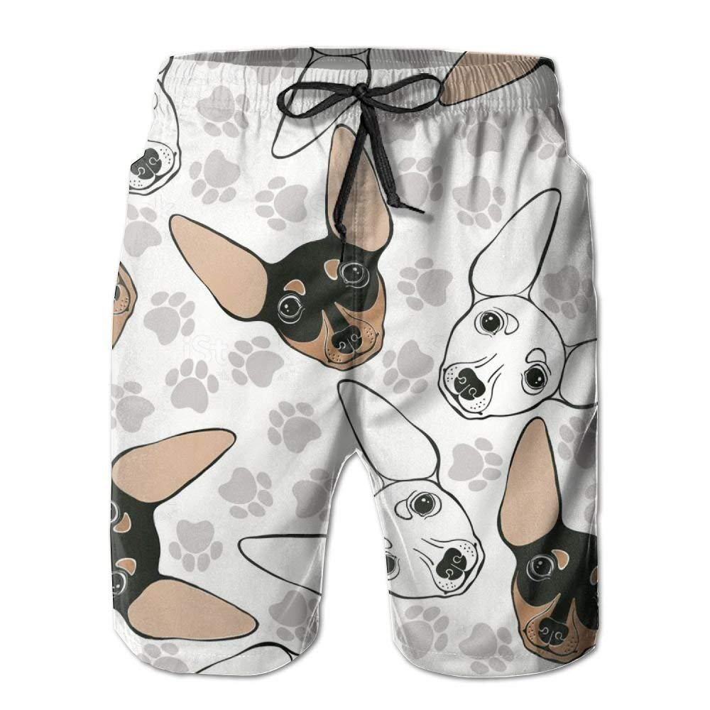 DHH166 Mens Chihuahua Dog Quick-Dry Summer Beach Surfing Board Shorts Swim Trunks Cargo Shorts