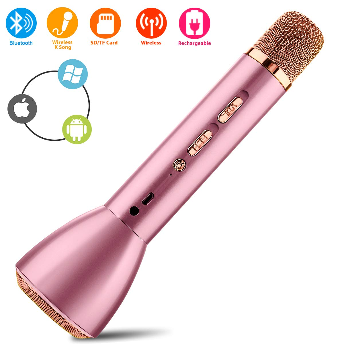 Wireless Bluetooth Karaoke Microphone for Kids Home Party Speaker Music Recorder by Epicing