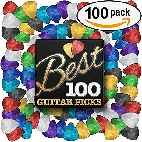 Mejor un gran valor Púas de guitarra (100 unidades) diseños únicos en varios colores