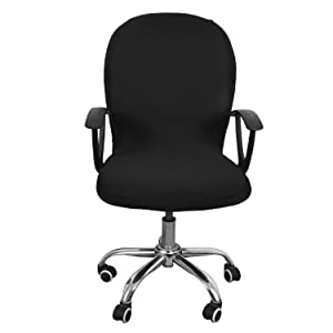 Office Computer Chair Cover Stretch Rotating Lift Chair Swivel Chair Cover (Black)