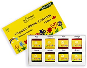 Azafran Organic Crayon 8 Colors Pack, Plant-Derived Ingredients, Non-Greasy, Eco Friendly, Food Grade Colors, For Toddlers, Fun With Playing and Stacking (4.23 Ounces)