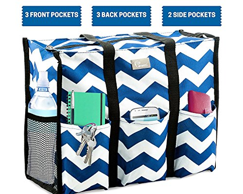 Pursetti Teacher Bag with Pockets - Perfect Gift for Teacher's Appreciation and Christmas (Large, Navy Chevron) by Pursetti (Image #2)