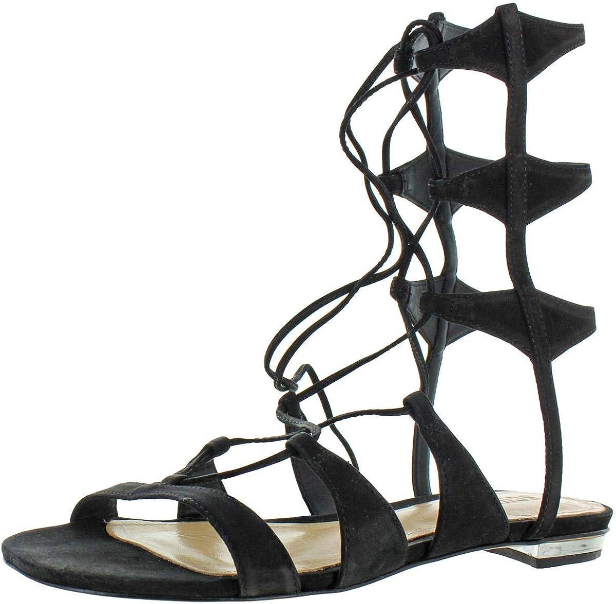Suede Flat Gladiator Sandals Black