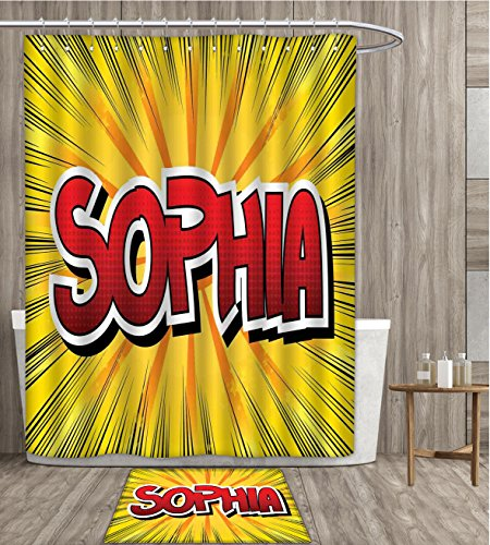 sunsunshine Sophia Shower Curtain customize One of the Most Popular Girls` Given Names in Western World Retro Comic Fabric Bathroom Set with Metal hook 72x72 inch Yellow Red and Black gift bath rug