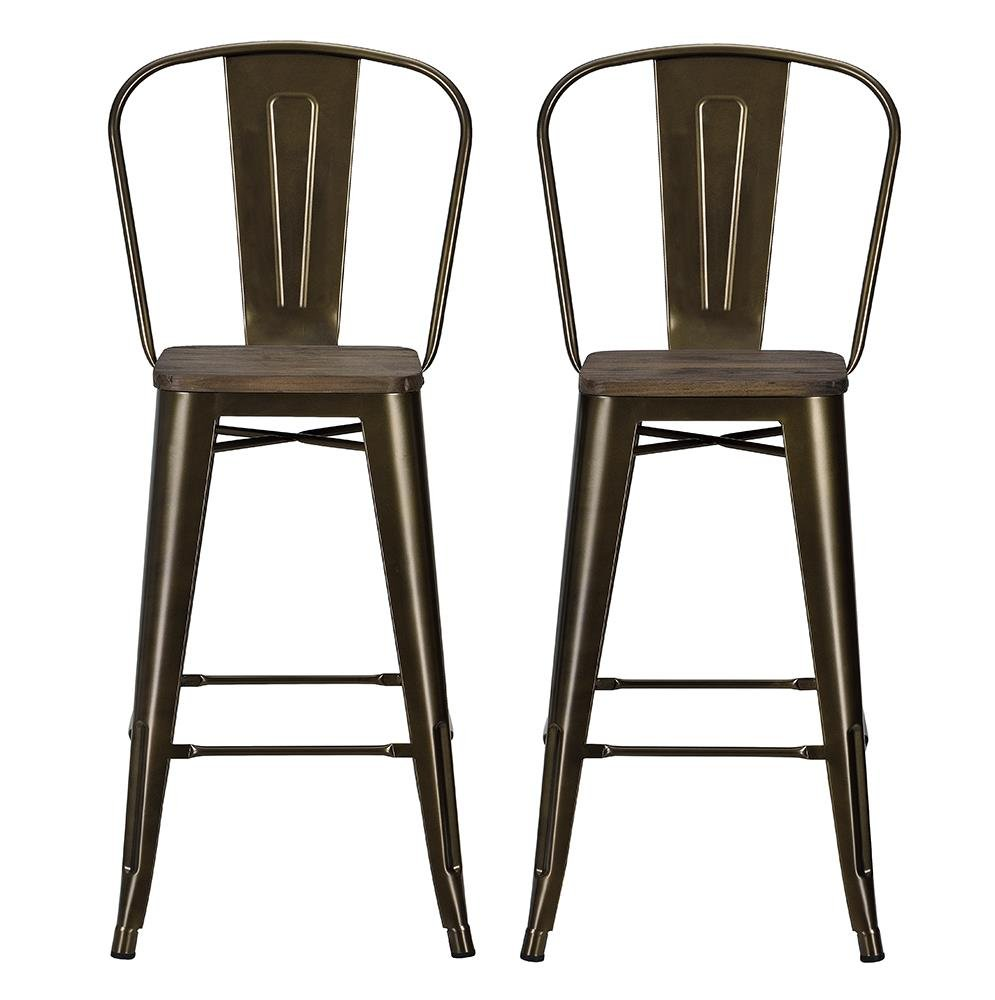 wooden seat bar stools. Amazon.com: DHP Luxor Metal Counter Stool With Wood Seat And Backrest, Set Of Two, 30\ Wooden Bar Stools
