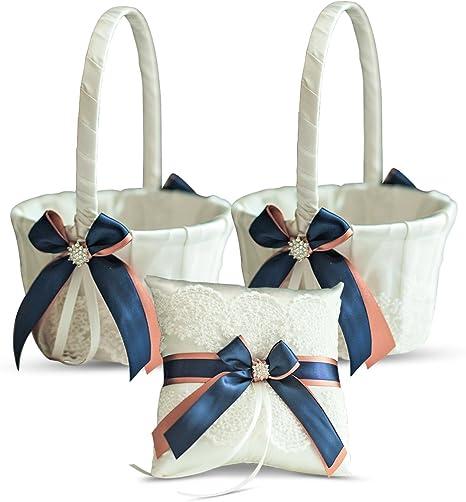 Navy Flower girl Basket \\ Navy Pillow Basket Set \\ Navy ring holder Navy Wedding Baskets \\ Navy Ring Bearer Pillow Navy Wedding Pillows