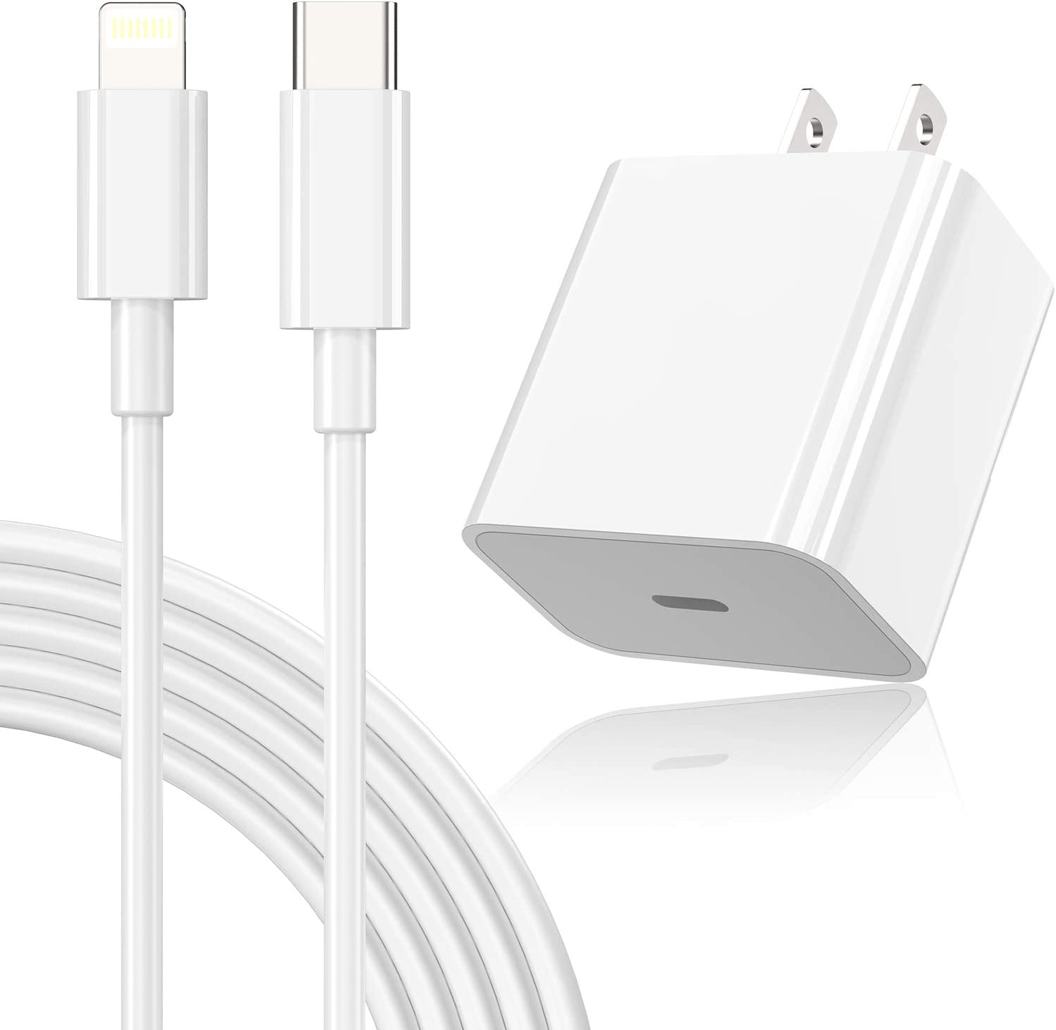 [MFI Certified] iPhone 12 Fast Charger Block 20W PD Wall Charger Plug with 6ft USB C to Lightning Cable for iPhone 12/12 min/12 pro/ 12 pro max/11 pro/11 pro max/Air pods pro/iPad air 3/iPad min4/5