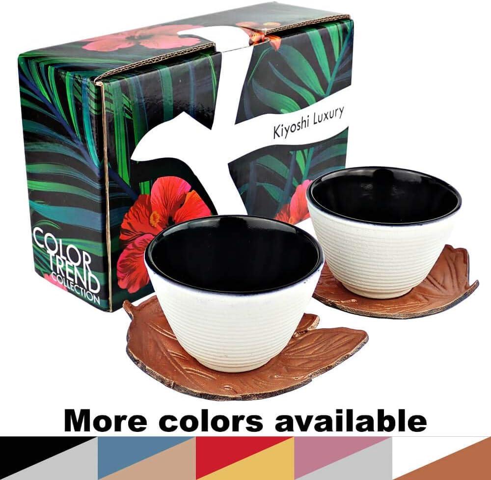 Black and Silver 0.120L - 4,06Oz 2 Large Teacups + 2Leaf Shape Saucers Gift Box KIYOSHI Luxury Japanese Cast Iron Tea Cups Set 4 pieces 100/% Hand Made