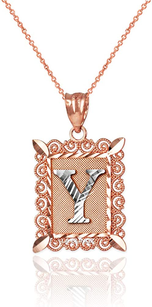 LA BLINGZ 14K Rose Gold Filigree Alphabet Initial Letter Y DC Charm Necklace