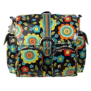 Kalencom Matte Coated Double Duty Diaper Bag, Floral Stitches