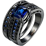AWLY Jewelry Womens Black Gold Plated Ring Set Princess Cut Sapphire Blue CZ Crystal Bridal Wedding Band Size 7