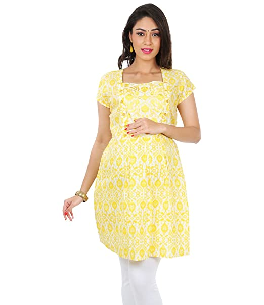 a5a99e2f583c4 Kriti Ethnic Maternity Yellow Nursing Kurta: Amazon.in: Clothing &  Accessories
